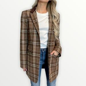 DKNY Brown Plaid Checked Wool Blend Coat